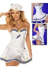New Woman Christmas Party Sexy Sailor White Cosplay Costume  Dress Outfit G16