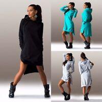 Casual Jumper Hoodie Long Pockets Tops Sleeve Sweater Dress Sports Hooded Women