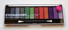Technic 12 Colour Eye Shadow Palette Black Magic Grey Green Orange Purple Shades