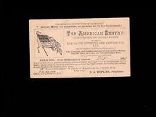 American Sentry Newspaper Liberty 1883 Postal Card New York Flag Plate Flaws 1k