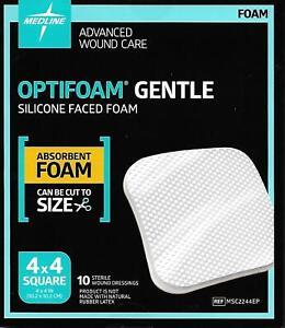 Medline Optifoam Gentle - 4x4 MSC2244EP - Box of 10 - Exp: 09/2023