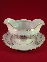PRINCESS CHINA  USA TRU-TONE SWEET BRIAR GRAVY BOAT W/ ATTACHED UNDER PLATE