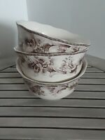 NEW 222 FIFTH  Arabella TOILE Easter BUNNY  Fine China  Set of 3 Bowls