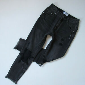 NWT One Teaspoon High Waist Freebirds in Double Bass Black Destroyed Jeans 30
