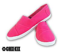 Womens Pink Canvas Shoes Slip Ons Casual Sneakers Kicks Footwear Tennis Flats