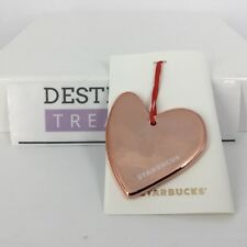 "Starbucks MISTAKE Christmas Ornament Rose Gold Heart ""STARBUCUS"" Printed Error"