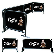 Cafe Barrier Set/ Store Front Barriers Set 2x2m plus 2x1m Steel Tube Frame Only