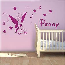 Wall Stickers custom name fairy tinkerbell heart vinyl decal decor Nursery kids