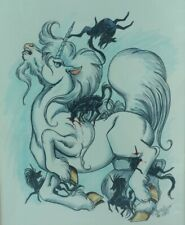 """RARE Furry Drawing """"Heroes Page 2 """" Unicorns & Nightmares Terrie Smith Art 1989"""