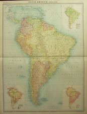 1922 LARGE ANTIQUE MAP ~ SOUTH AMERICA ~ POPULATION DENSITY RACES & VEGETATION