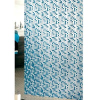 Tenda doccia ANTIMUFFA mosaico vinile impermeabile 3 misure anelli inclusi PVC
