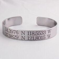 Personalized Coordinates Cuff Bracelet, Customized Longitude Latitude Engraved