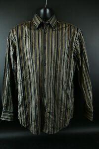 Kenneth Roberts Platinum Men's Brown Striped Cotton Long Sleeve Button Shirt Med