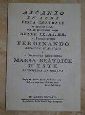 ASCANIO IN ALBA FESTA TEATRALE - FERDINANDO - MARIA BEATRICE D'ESTE MODENA GK