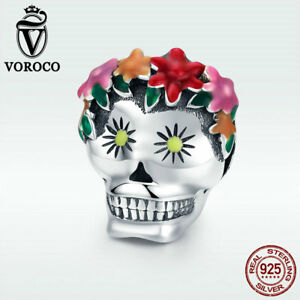 Voroco 925 Sterling Silver Bead Flower Skeleton Charm For Girl Bracelet Necklace