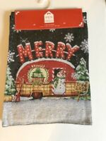"""Snowman Table Runner Camper RV Tapestry 13x72"""" Holly Merry Christmas Snowflakes"""