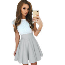 Womens Evening Formal Party Prom Bridesmaid Short Mini Dress Lace Tunic Swing US