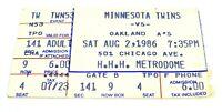 Vintage MINNESOTA TWINS VS. OAKLAND A'S Used TICKET STUB Metrodome AUG 2 1986