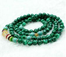 stone Mantra Mala Necklace 6mm Tibetan Buddhism 108 malachite
