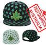 Snap Back Flat Peak Bill Baseball Cap Hat Mull Weeds Marijuana Cannabis Leaves