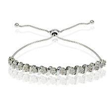 0.10ct Miracle Set Diamond S Link Adjustable Bracelet in Sterling Silver