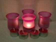 PINK COLOURED TEA LIGHT GLASS CANDLE HOLDERS WITH SCENTED CANDLES