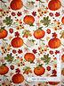Fall Garden Pumpkin Flower Leaves Cream Cotton Fabric David Textiles By The Yard