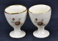 Royal Copenhagen Set of 2 Egg Cups Gold Trim Flowers