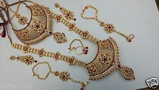 INDIAN WEDDING DESIGNER GOLD FINISH FASHION BRIDAL KUNDAN NECKLACE SET JEWELRY
