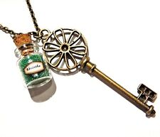 Absinthe & Skeleton Key Pendant Necklace 1920s prohibition wormwood anise jar E3