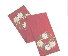 """Pier  1 imports Embroidered Poinsettia Christmas Table Runner 13"""" x 108"""" New"""