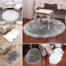 Fluffy Plain Soft Sheepskin Faux Fur Rug Shaggy Wool Mat Sofa Bedroom Seat Pad