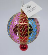 """Gilded Charms Christopher Radko 6"""" Glass Ornament Retired 01 0052 0 Pink Red Blu"""