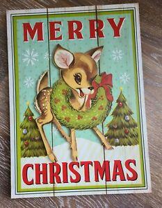 """NEW Vintage Look Wood Christmas Wall Yard Sign RUDOLOH REINDEER 10"""" x 14"""""""