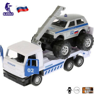 1:72 Scale Diecast Metal Model Tow Truck KamAZ with Police Off_Road Lada Niva