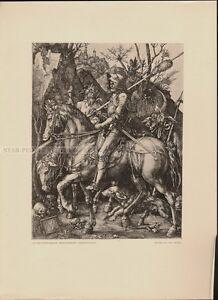 ALBRECHT DÜRER - RIDER DEATH AND DEVIL * rare RELIGIOUS art PRINT 1920ies