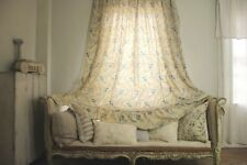 HUGE Antique French blue floral curtain c 1860 drape shabby chic country faded