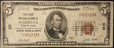 1929 Five Dollars National Currency from The First National Bank of Marietta, PA
