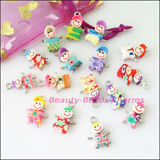 6Pcs Mixed Handmade Polymer Fimo Clay Boy / Girl Charms Pendants 14x20mm