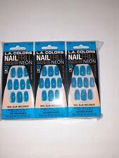 3xLA Colors Nail Frill High Gloss Neon Blue Press On Nails 3 boxes