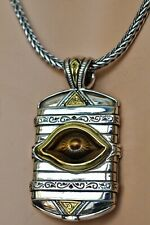 "Konstantino Mens Tiger's Eye Evil Eye Pendant Necklace Sterling Bronze  22"" New"