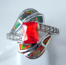 "GORGEOUS RAINBOW FIRE OPAL/WHITE  TOPAZ/GARNET RING UK Size ""Q"" US 8.5"