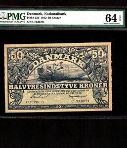 Denmark 50 Kroner 1942 P-32d * PMG Unc 64 EPQ * High Grade *