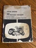John Deere 38 Rotary Mower Operators Manual OMM41422 110,112 Steel Seat