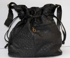 BENNO CAMENZIND Black Pebbled Leather Shouder Bag Purse Drawstring Swiss RARE!