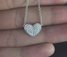 14K rotondo in oro bianco pavé di Diamanti Cuore Amore Ciondolo 40.6cm catenina