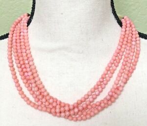 """GORGEOUS 5 Strand 925 Sterling Silver Natural Pink Coral Bead Necklace 20"""""""