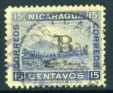 Nicaragua 1905 Bluefields 15¢  Blue Momotombo New Orleans CDS T725