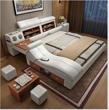 Genuine leather bed frame Soft Beds massager storage safe speaker LED light Bedr