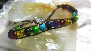 Chraka Bracelet Button Clasp Natural Healing Stones Fully Beaded Women Men Teens